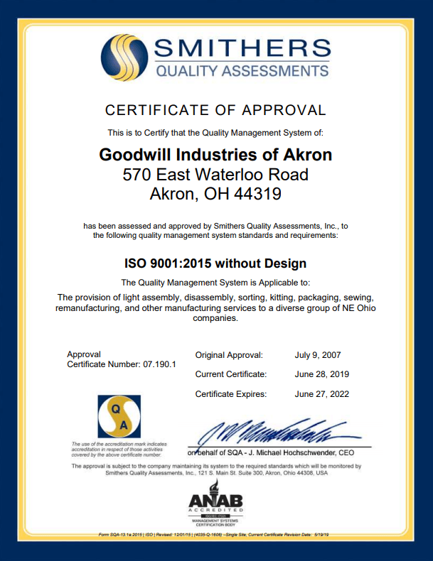 Goodwill Akron Certificate of Approval